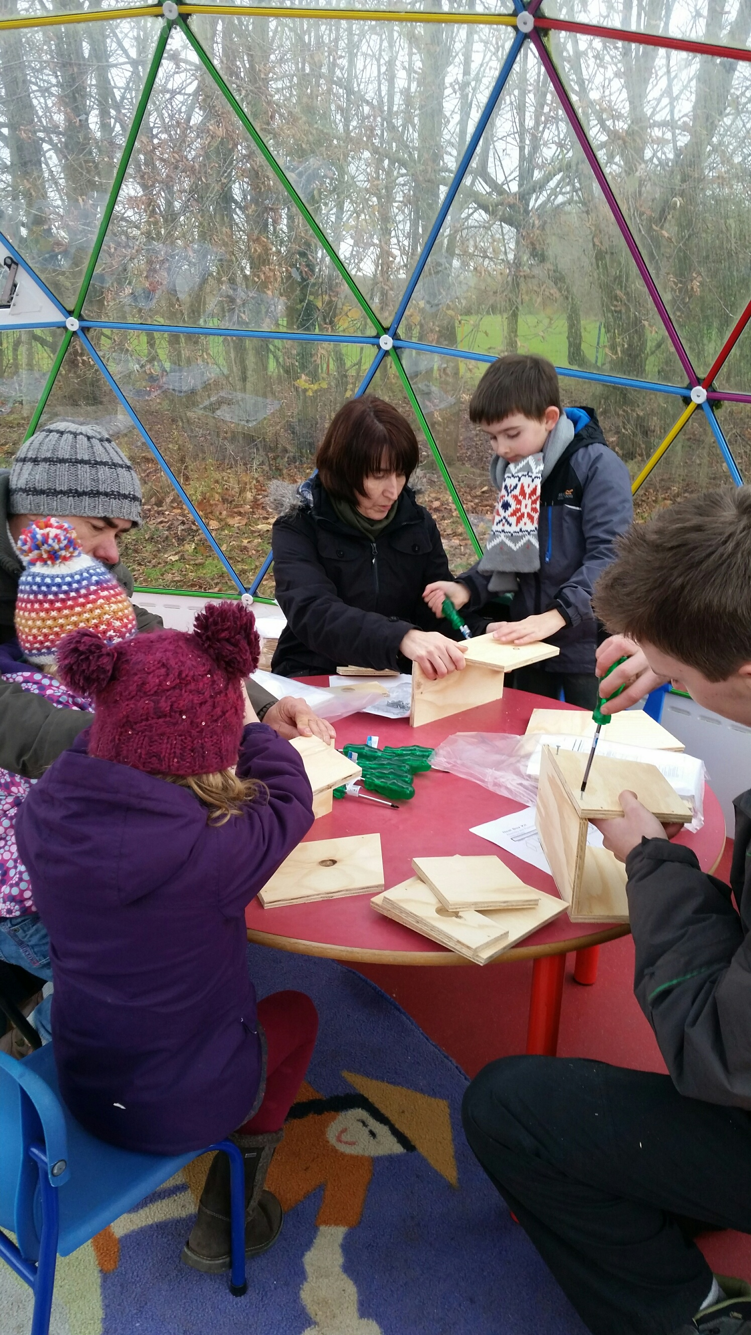 wildlife watch children assembling nest boxes