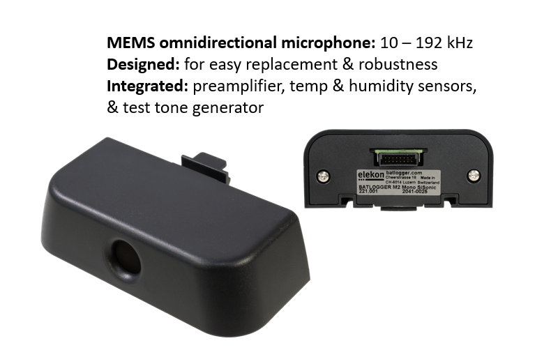 MEMS Omnidirectional microphone Easily replaceable Integrated preamplifier Integrated temperature and humidity sensors Integrated test tone generator 10 – 192 kHz